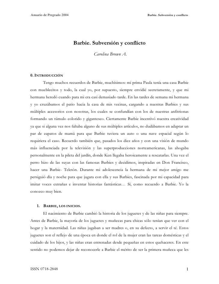 Anuario de Pregrado 2004                                               Barbie. Subversión y conflicto                     ...