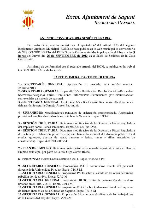 Excm. Ajuntament de Sagunt SECRETARIA GENERAL 1 ANUNCIO CONVOCATORIA SESIÓN PLENARIA: De conformidad con lo previsto en el...