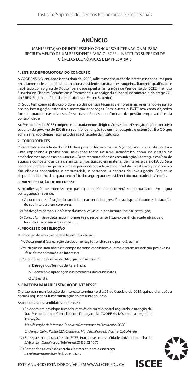 Instituto Superior de Ciências Económicas e Empresariais  ANÚNCIO MANIFESTAÇÃO DE INTERESSE NO CONCURSO INTERNACIONAL PARA...