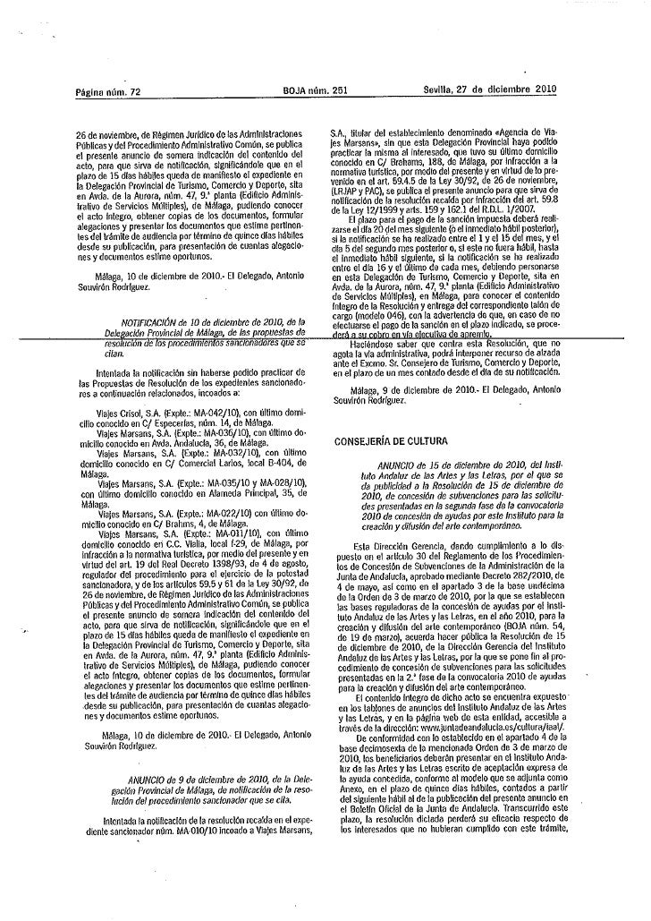 Anuncio concesión ayudas 2010 2ª fase