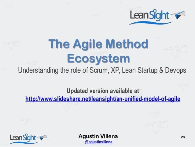 The Agile Method Ecosystem Understanding the role of Scrum, XP, Lean Startup & Devops Agustin Villena 28 @agustinvillena U...