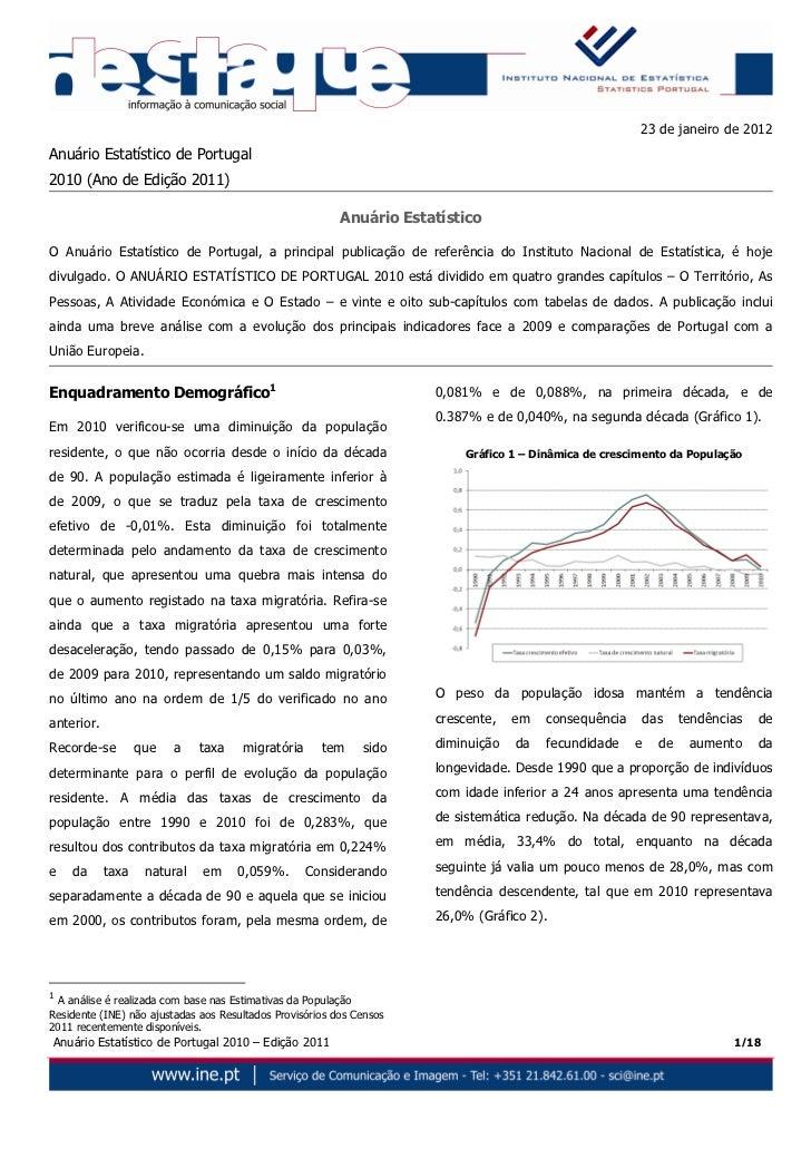 23 de janeiro de 2012Anuário Estatístico de Portugal2010 (Ano de Edição 2011)                                             ...