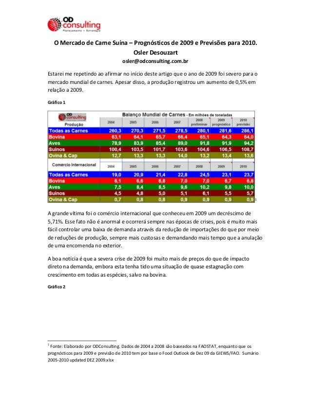 O Mercado de Carne Suína – Prognósticos de 2009 e Previsões para 2010.  Osler Desouzart  osler@odconsulting.com.br  Estare...