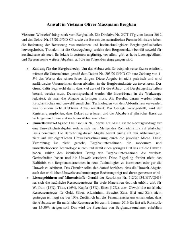 Anwalt in Vietnam Oliver Massmann Bergbau Vietnams Wirtschaft hängt stark vom Bergbau ab. Die Direktive Nr. 2/CT-TTg vom J...