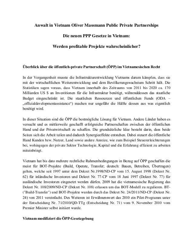 Anwalt in Vietnam Oliver Massmann Public Private Partnerships Die neuen PPP Gesetze in Vietnam: Werden profitable Projekte...