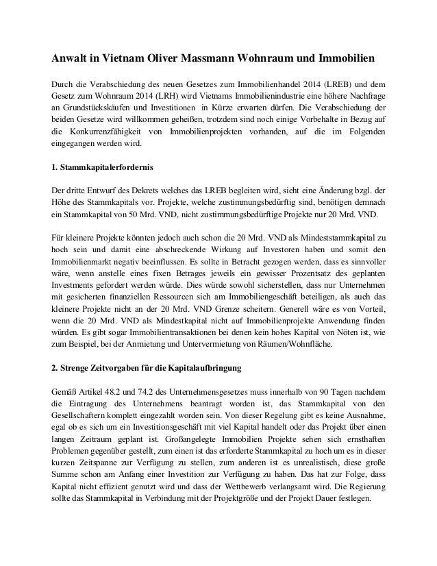 Anwalt in Vietnam Oliver Massmann Wohnraum und Immobilien Durch die Verabschiedung des neuen Gesetzes zum Immobilienhandel...
