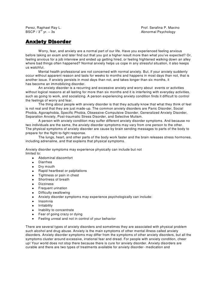 Perez, Raphael Ray L.Prof. Serafina P. Maxino<br />BSCP / 3rd yr. – 3sAbnormal Psychology<br />Anxiety Disorder<br />Worry...