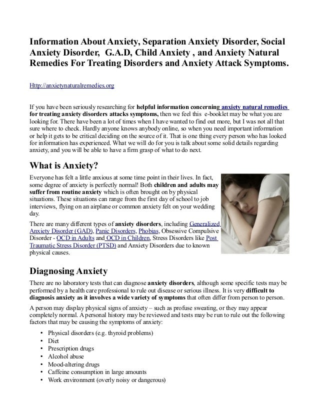 Information About Anxiety, Separation Anxiety Disorder, SocialAnxiety Disorder, G.A.D, Child Anxiety , and Anxiety Natural...