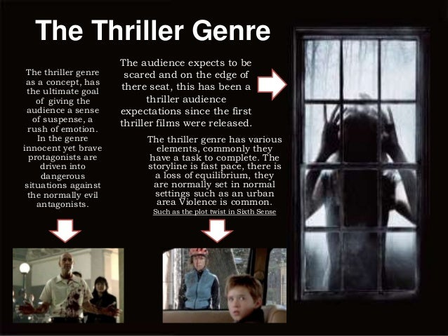 The Thriller Genre The thriller genre as a concept, has the ultimate goal of giving the audience a sense of suspense, a ru...
