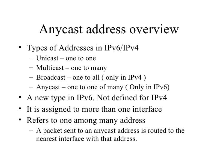 Anycast & Multicast