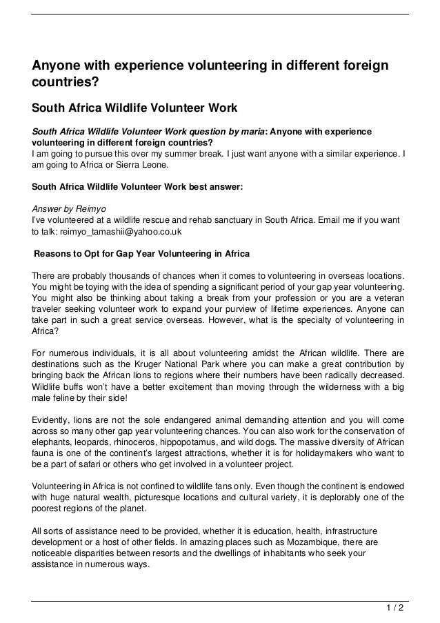 Anyone with experience volunteering in different foreigncountries?South Africa Wildlife Volunteer WorkSouth Africa Wildlif...
