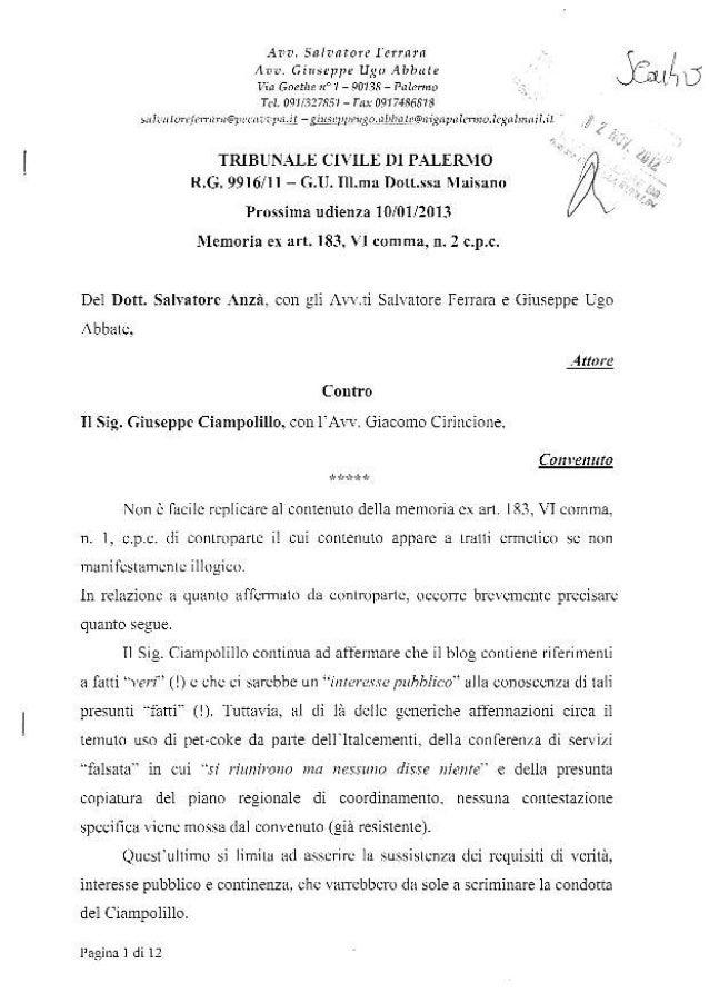 Anza' ciampolillo procedimento 9916 2011 12 novembre 2012 memoria    ferrara