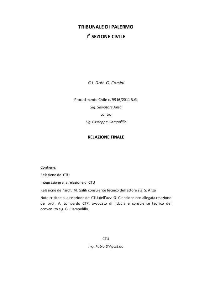 Anza' ciampolillo procedimento 9916 2011 ctu d'agostino lombardo califfi cirincione relazione finale