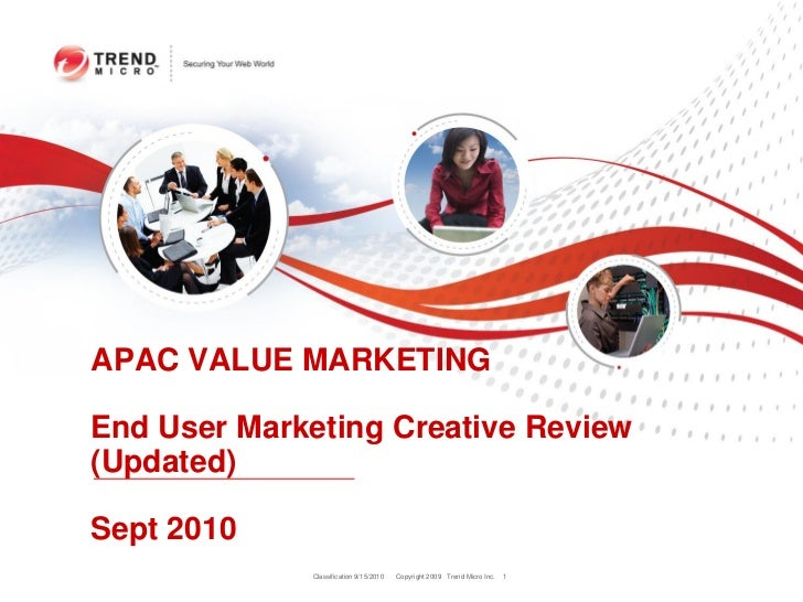 APAC VALUE MARKETINGEnd User Marketing Creative Review(Updated)Sept 2010             Classification 9/15/2010   Copyright ...