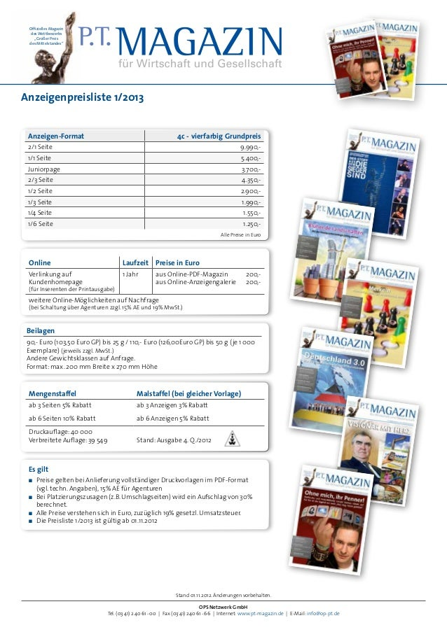Anzeigenpreisliste 2013