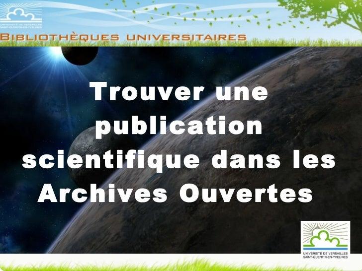 Trouver une publication scientifique dans les Archives Ouvertes