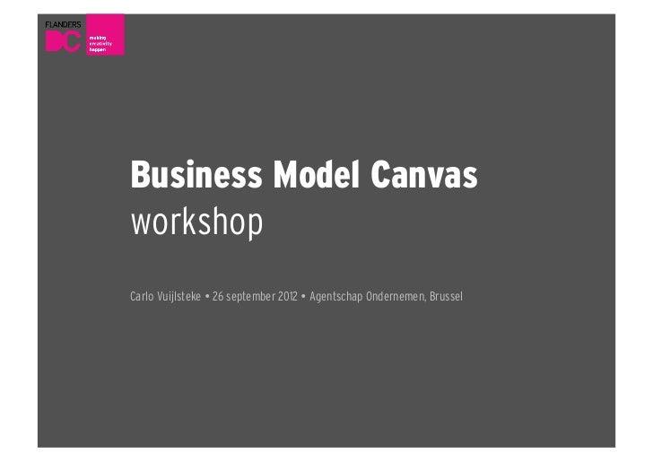 Business Model CanvasworkshopCarlo Vuijlsteke  26 september 2012  Agentschap Ondernemen, Brussel