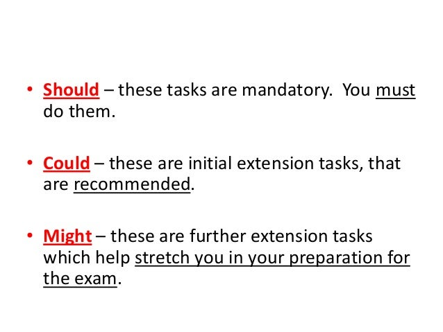 • Should – these tasks are mandatory. You must  do them.• Could – these are initial extension tasks, that  are recommended...