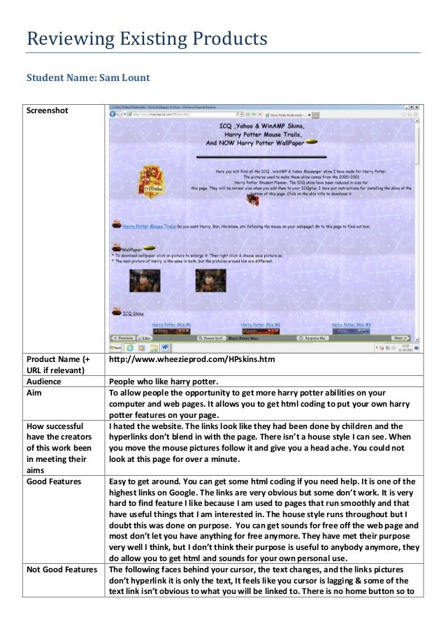 Reviewing Existing ProductsStudent Name: Sam LountScreenshotProduct Name (+URL if relevant)http://www.wheezieprod.com/HPsk...