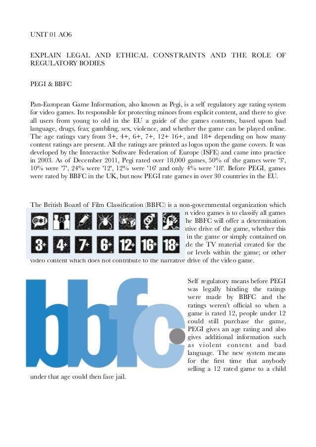 UNIT 01 AO6 EXPLAIN LEGAL AND ETHICAL CONSTRAINTS AND THE ROLE OF REGULATORY BODIES PEGI & BBFC Pan-European Game Informat...