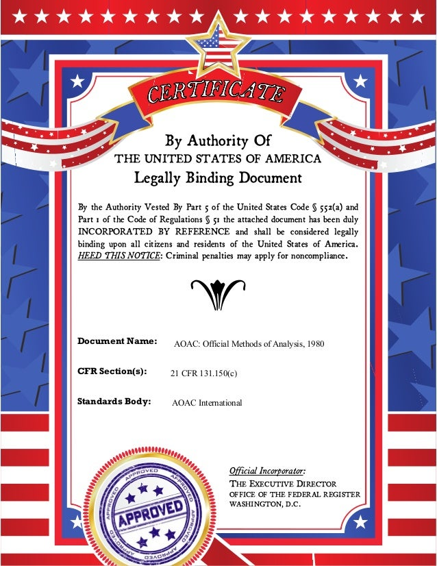 By Authority Of THE UNITED STATES OF AMERICA Legally Binding Document By the Authority Vested By Part 5 of the United Stat...