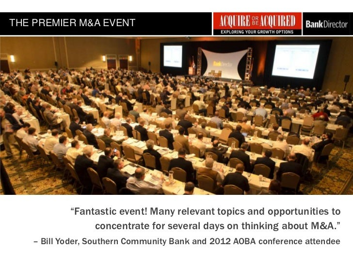 "THE PREMIER M&A EVENT           ""Fantastic event! Many relevant topics and opportunities to                concentrate for..."