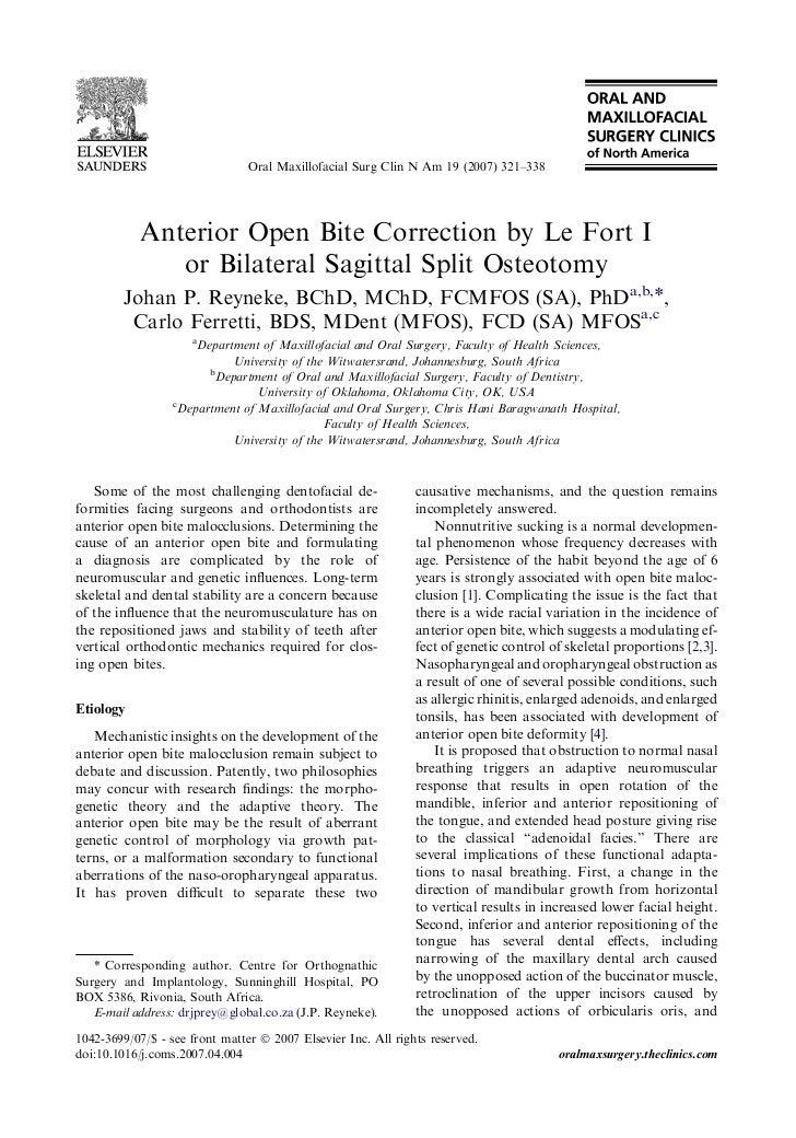 Oral Maxillofacial Surg Clin N Am 19 (2007) 321–338            Anterior Open Bite Correction by Le Fort I               or...