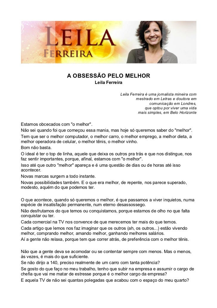 A OBSESSÃO PELO MELHOR                                      Leila Ferreira                                                ...
