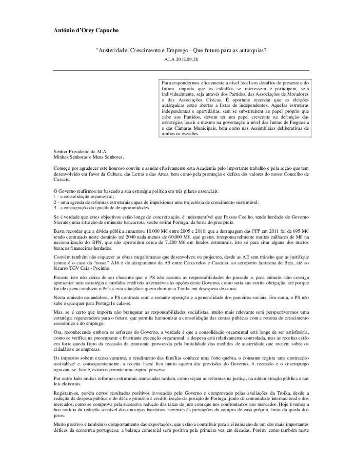 "António d'Orey Capucho                     ""Austeridade, Crescimento e Emprego - Que futuro para as autarquias?           ..."