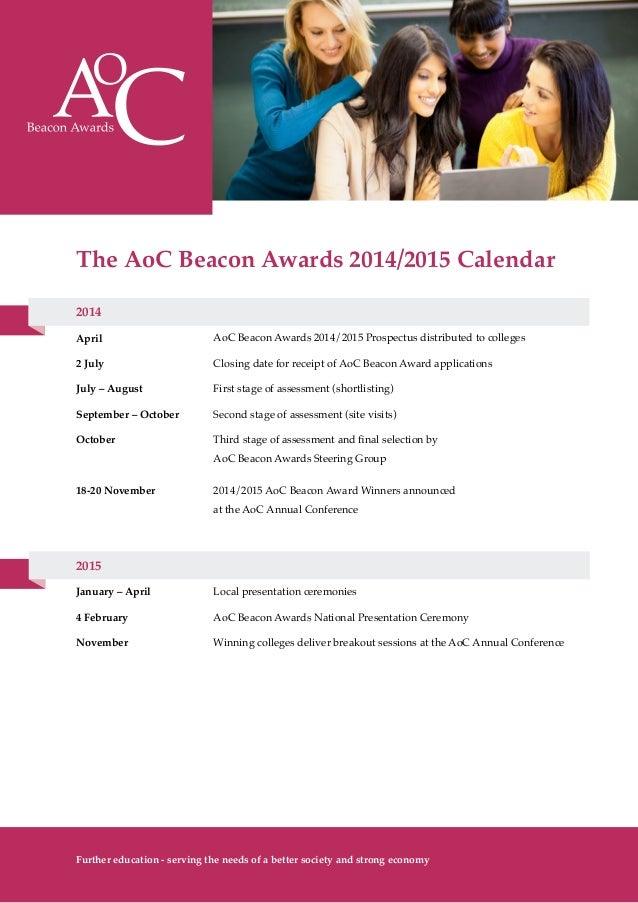 AoC Beacon Awards 2014-15 - Calendar