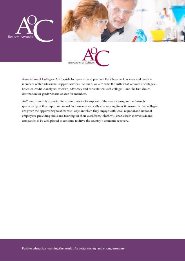 AoC Beacon Awards 2014-15 prospectus - AoC Award for College Engagement with Employers