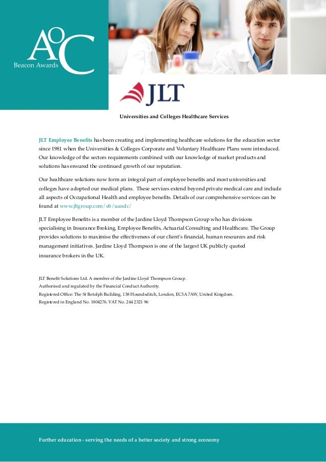 AoC Beacon Awards 2014-15 prospectus - JLT Employee Benefits Award for Health and Wellbeing