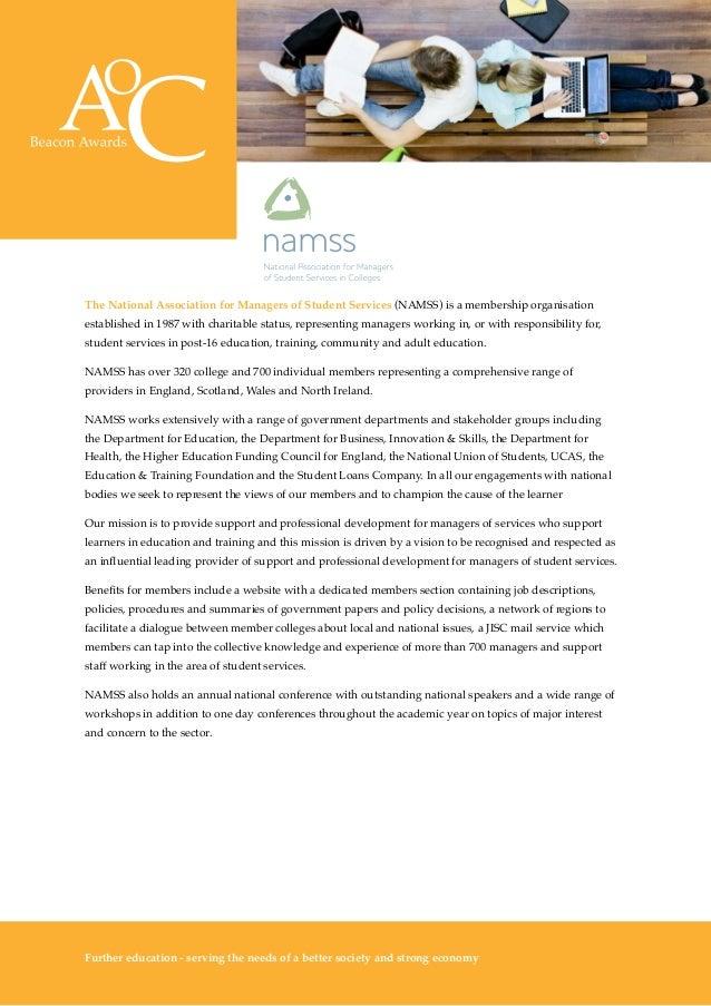 AoC Beacon Awards 2014-15 prospectus - NAMSS Award for Student Support