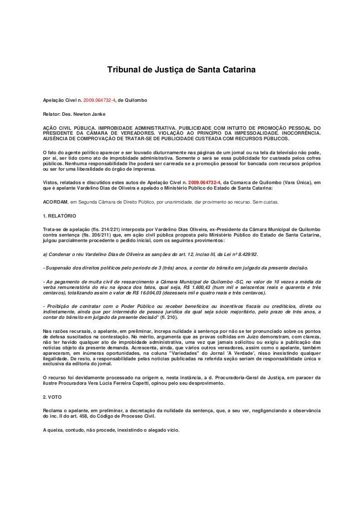 Tribunal de Justiça de Santa CatarinaApelação Cível n. 2009.064732-4, de QuilomboRelator: Des. Newton JankeAÇÃO CIVIL PÚBL...
