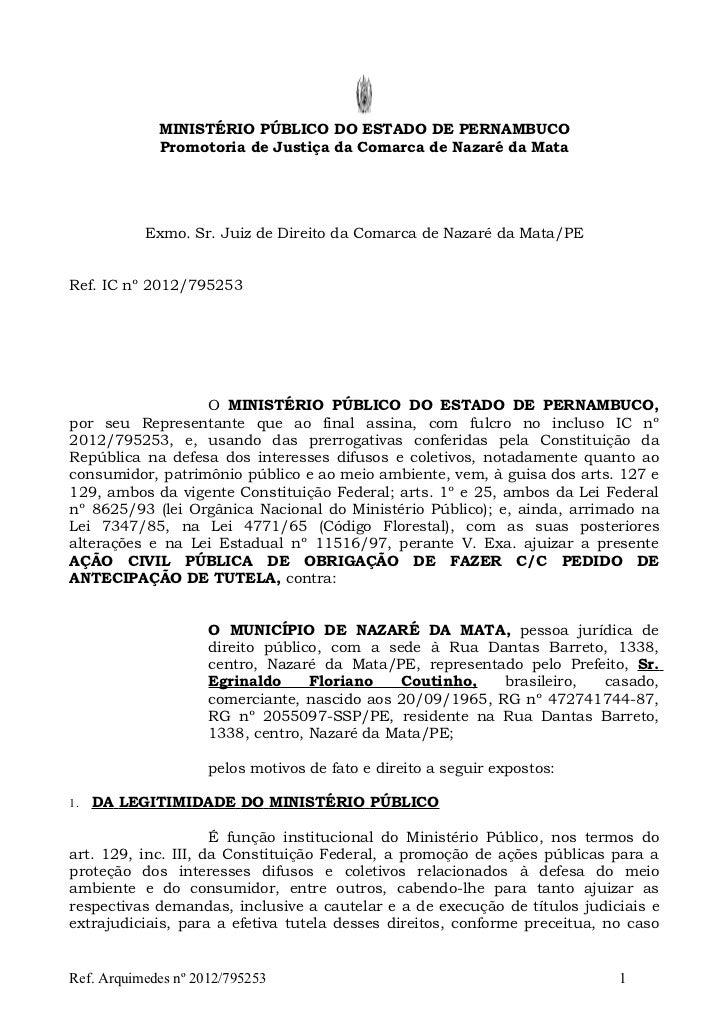 MINISTÉRIO PÚBLICO DO ESTADO DE PERNAMBUCO             Promotoria de Justiça da Comarca de Nazaré da Mata           Exmo. ...