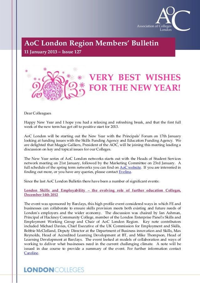 AoC London Region Members' Bulletin11 January 2013 – Issue 127                                       VERY BEST WISHES     ...