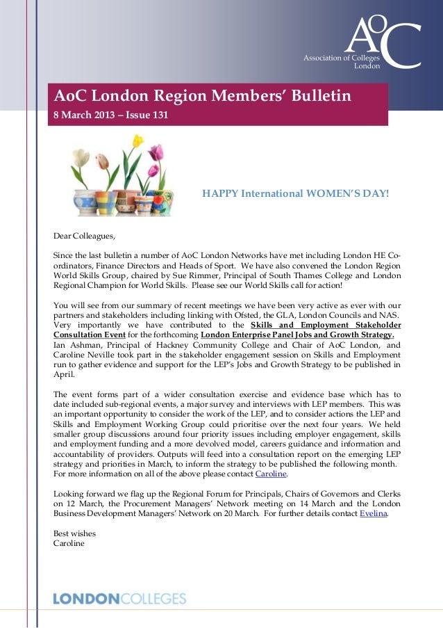 AoC London Region Members' Bulletin8 March 2013 – Issue 131                                       HAPPY International WOME...