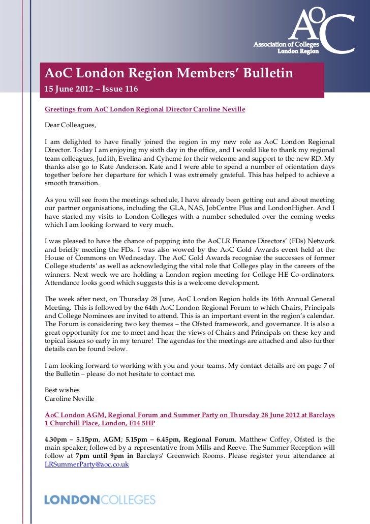 AoC London Region Bulletin Issue 116