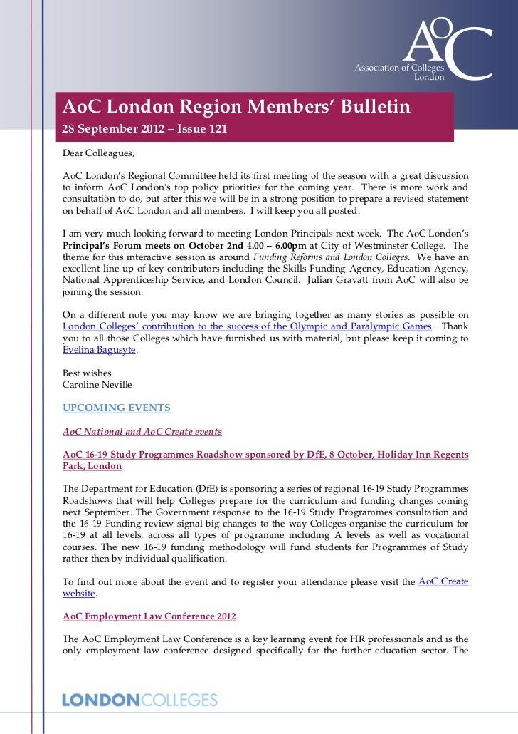 AoC London Region Members' Bulletin28 September 2012 – Issue 121Dear Colleagues,AoC London's Regional Committee held its f...