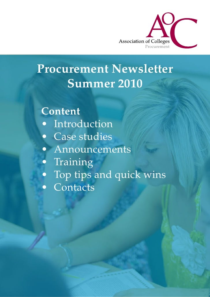 ProcurementProcurement Newsletter     Summer 2010Content•	 Introduction•	 Case studies•	 Announcements•	 Training•	 Top ti...