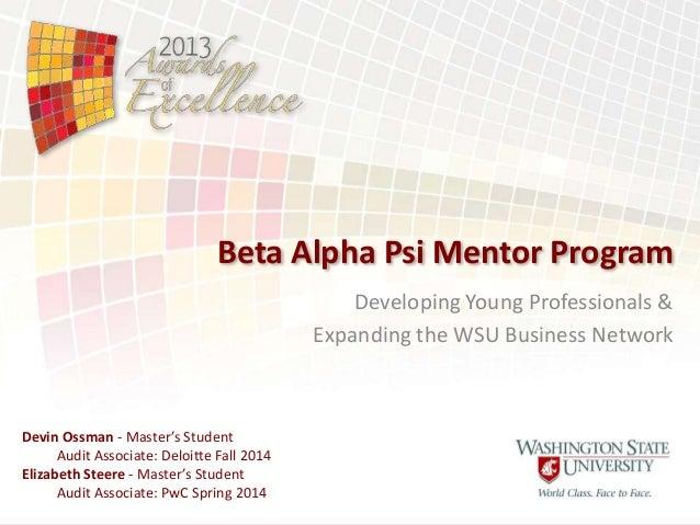 UEDA Summit 2013 - Awards of Excellence - Talent Development - Beta Alpha Psi Mentor Program
