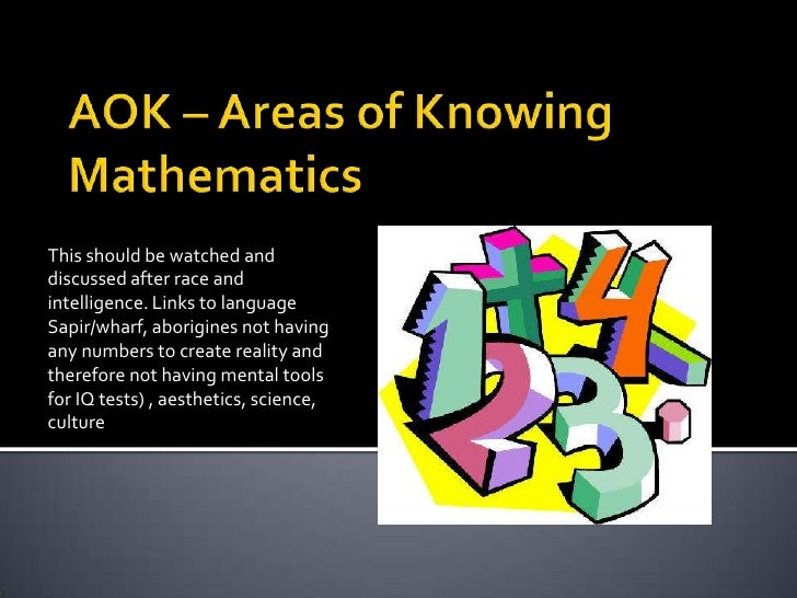 Aok – areas of knowing mathematics