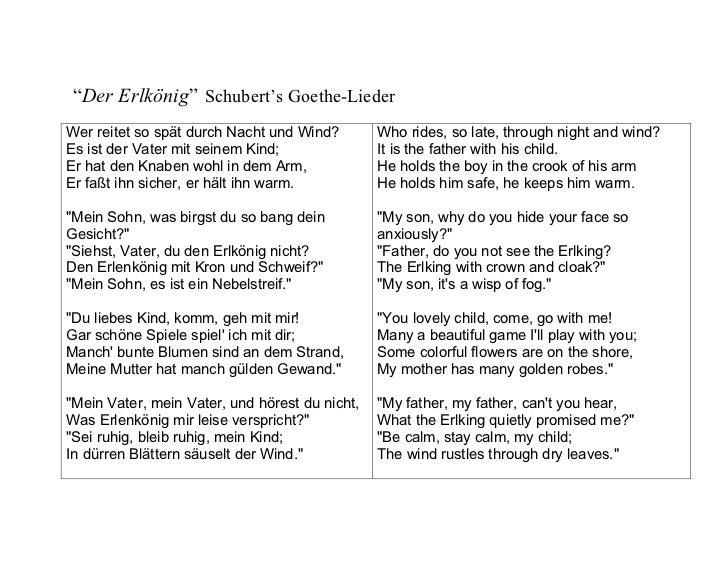 """""""Der Erlkönig"""" Schubert's Goethe-Lieder Wer reitet so spät durch Nacht und Wind?        Who rides, so late, through night ..."""