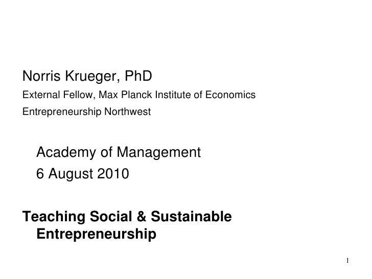 Teaching Social & Sustainable Entrepreneurship