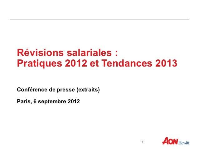 Révisions salariales :Pratiques 2012 et Tendances 2013Conférence de presse (extraits)Paris, 6 septembre 2012              ...