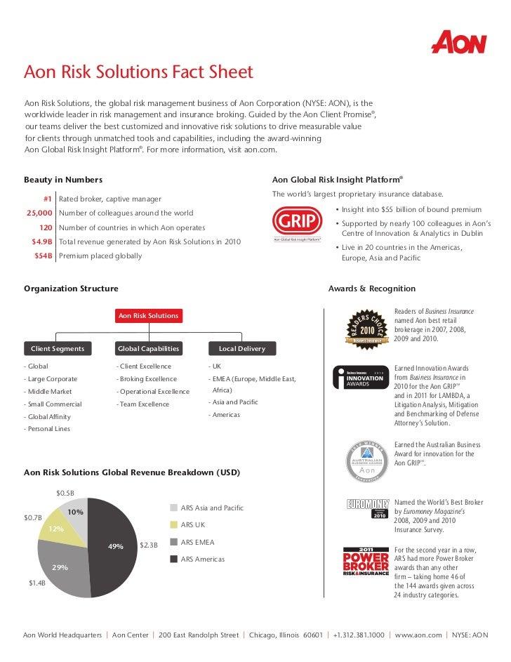 Aon Risk Solutions Fact Sheet