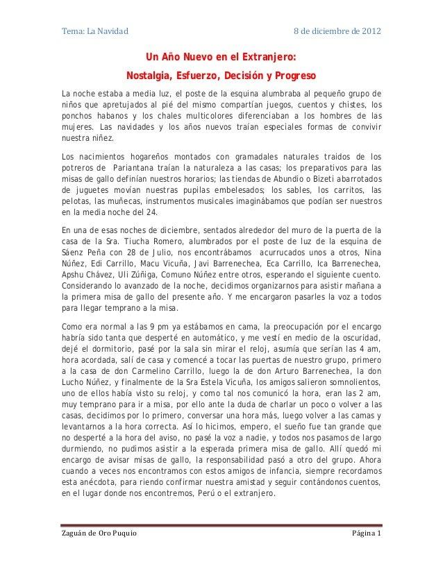 Tema: La Navidad                                              8 de diciembre de 2012                       Un Año Nuevo en...