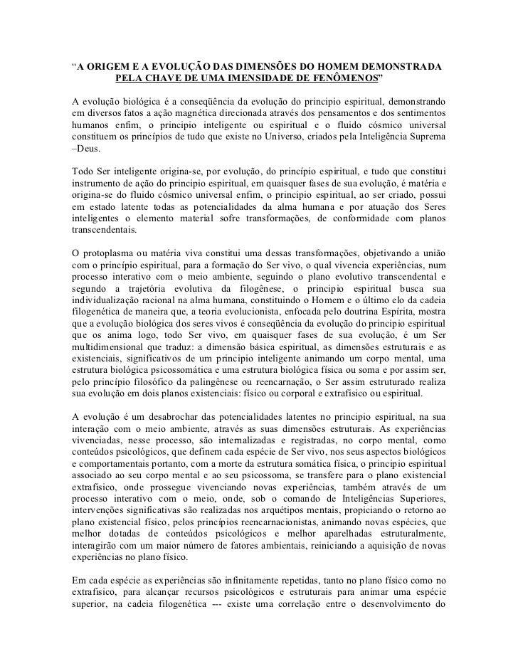 """""""A ORIGEM E A EVOLUÇÃO DAS DIMENSÕES DO HOMEM DEMONSTRADA       PELA CHAVE DE UMA IMENSIDADE DE FENÔMENOS""""A evolução bioló..."""