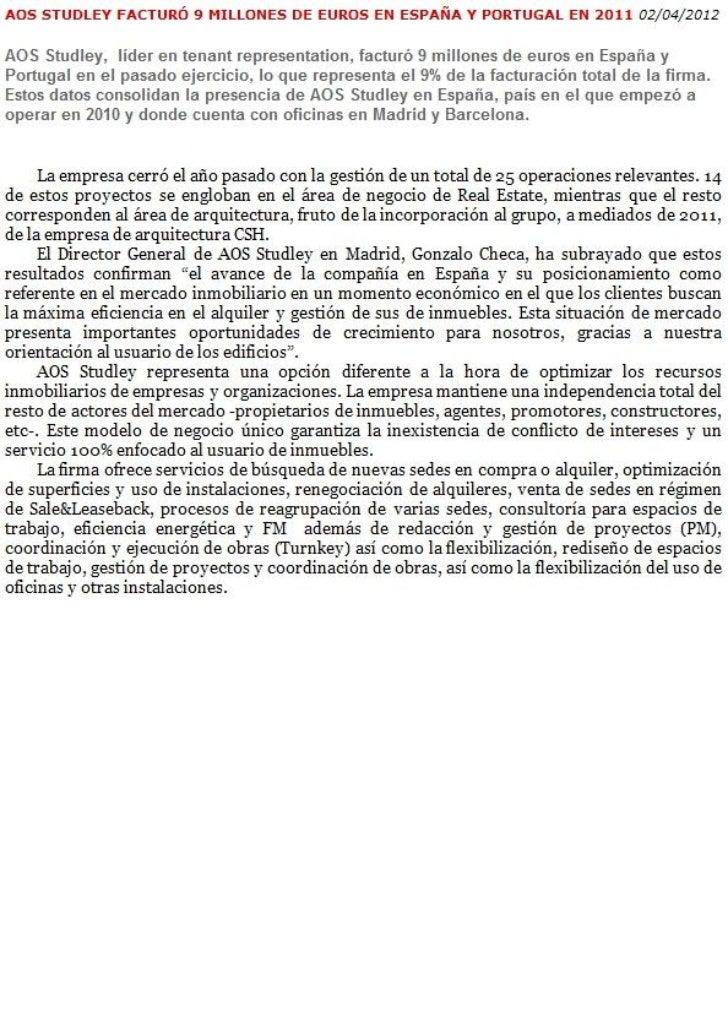 AOS Studley - España - 9 Millones € - 02.04.2012