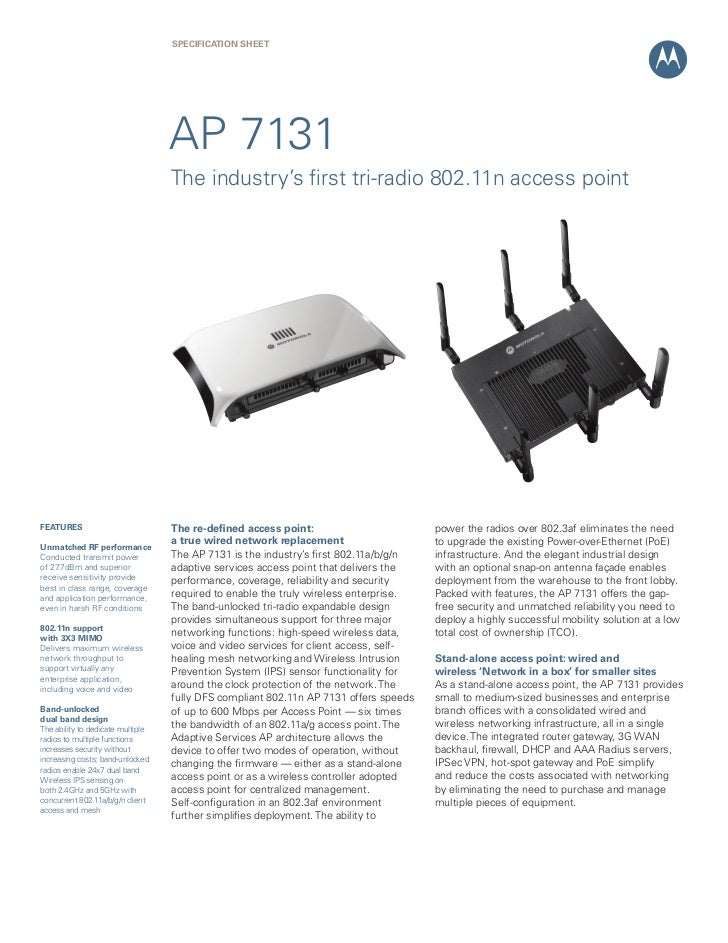 SPECIFICATION SHEET                                   AP 7131                                   The industry's first tri-r...